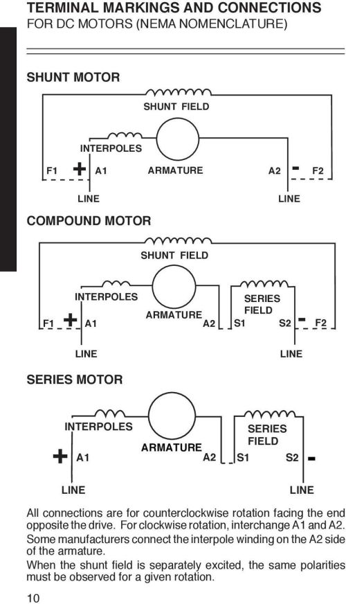 small resolution of connections are for counterclockwise rotation facing the end opposite the drive for clockwise rotation