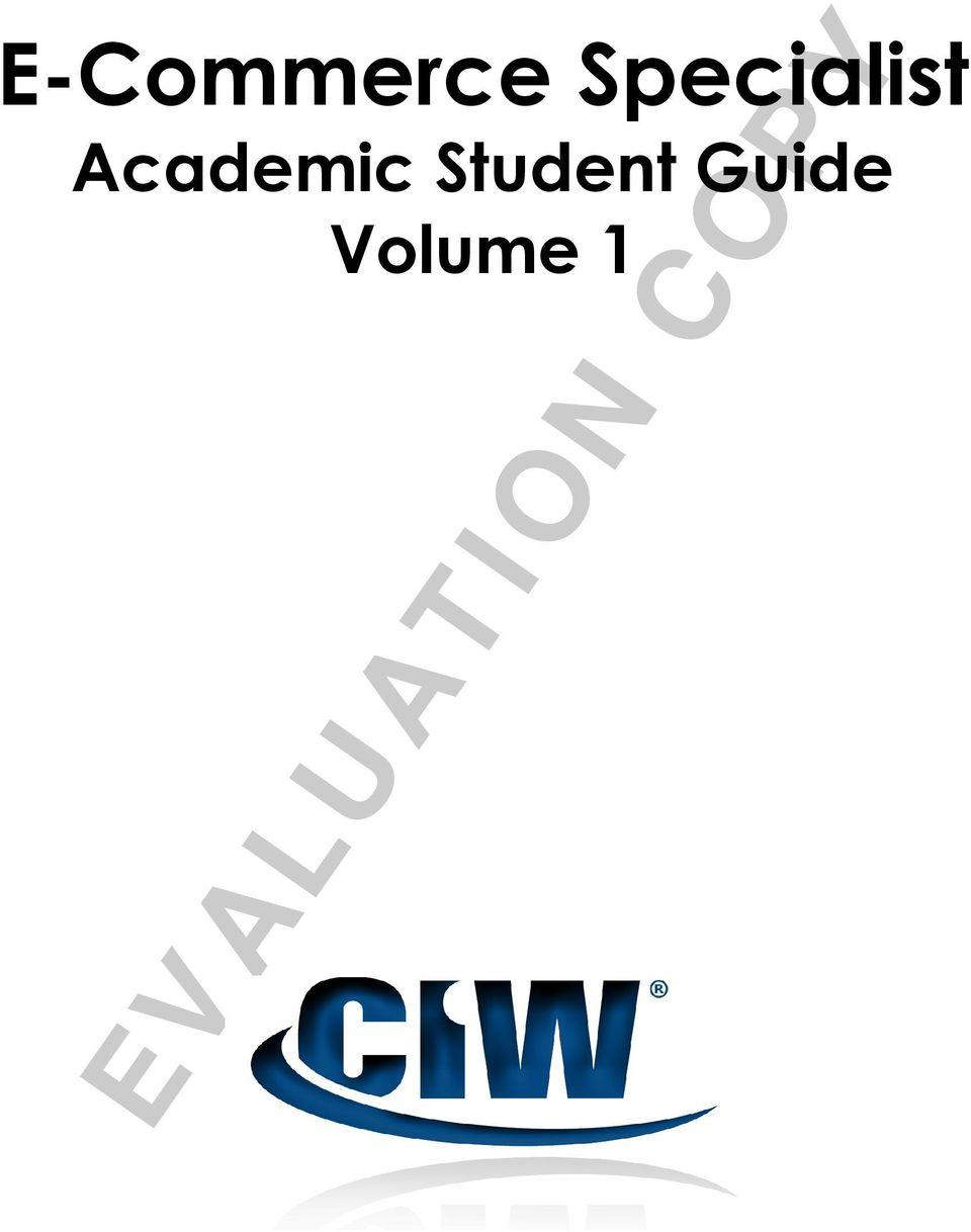 EVALUATION COPY. E-Commerce Specialist. Academic Student