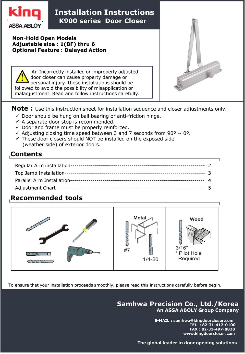 hight resolution of note use this instruction sheet for installation sequence and closer adjustments only door should