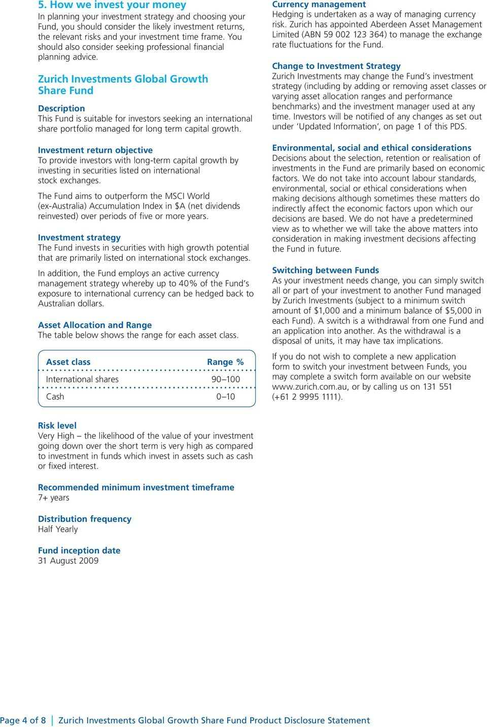 Zurich Global Thematic Share Fund Pds