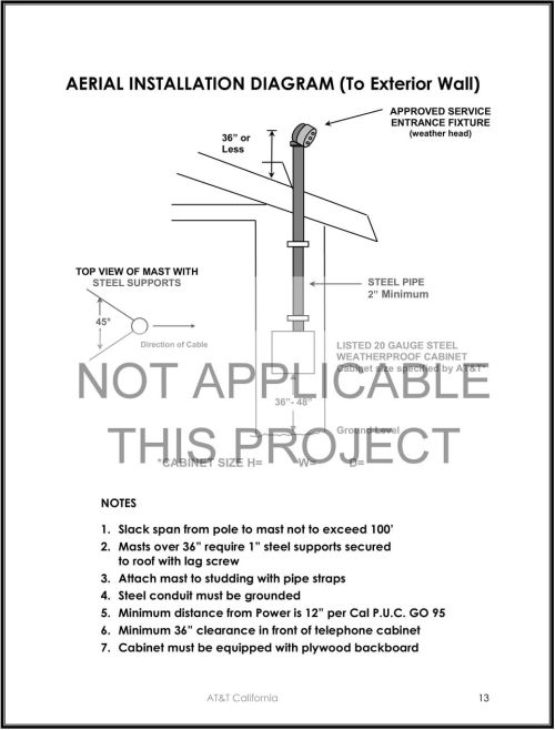 small resolution of slack span from pole to mast not to exceed 100 2 masts over 36 require 14 aerial installation diagram