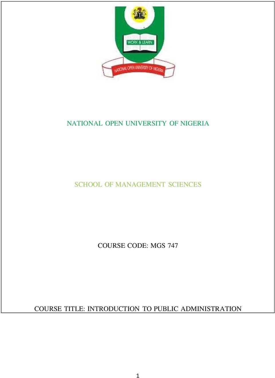 NATIONAL OPEN UNIVERSITY OF NIGERIA SCHOOL OF MANAGEMENT