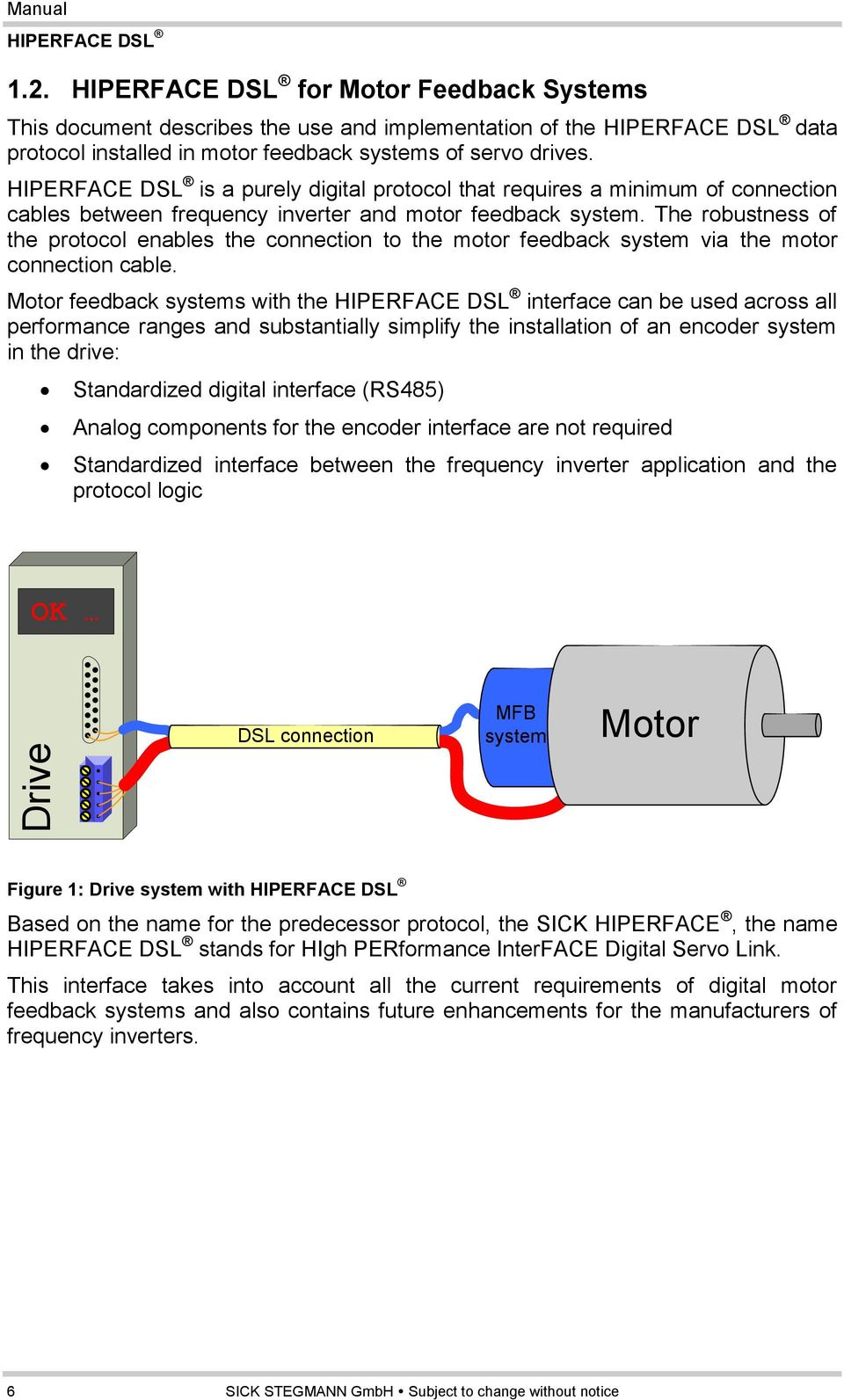 hight resolution of the robustness of the protocol enables the connection to the motor feedback system via the motor