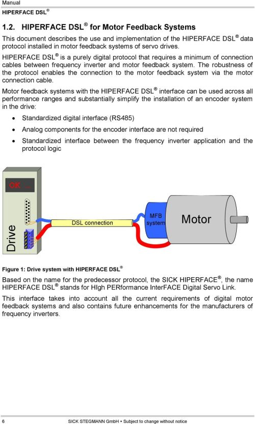 small resolution of the robustness of the protocol enables the connection to the motor feedback system via the motor