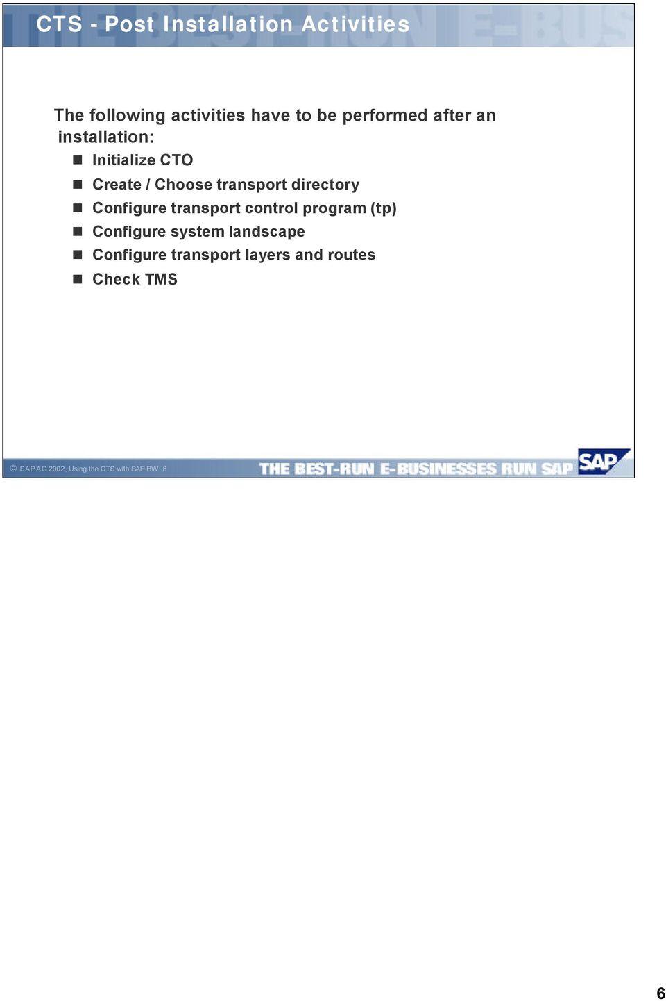 hight resolution of directory configure transport control program tp configure system landscape