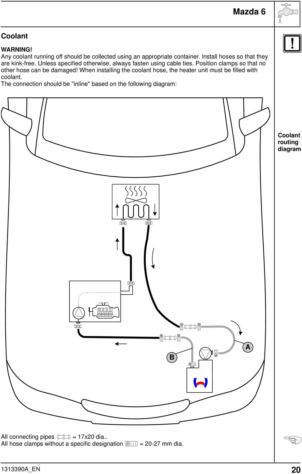 medium resolution of position clamps so that no other hose can be damaged when installing the coolant hose
