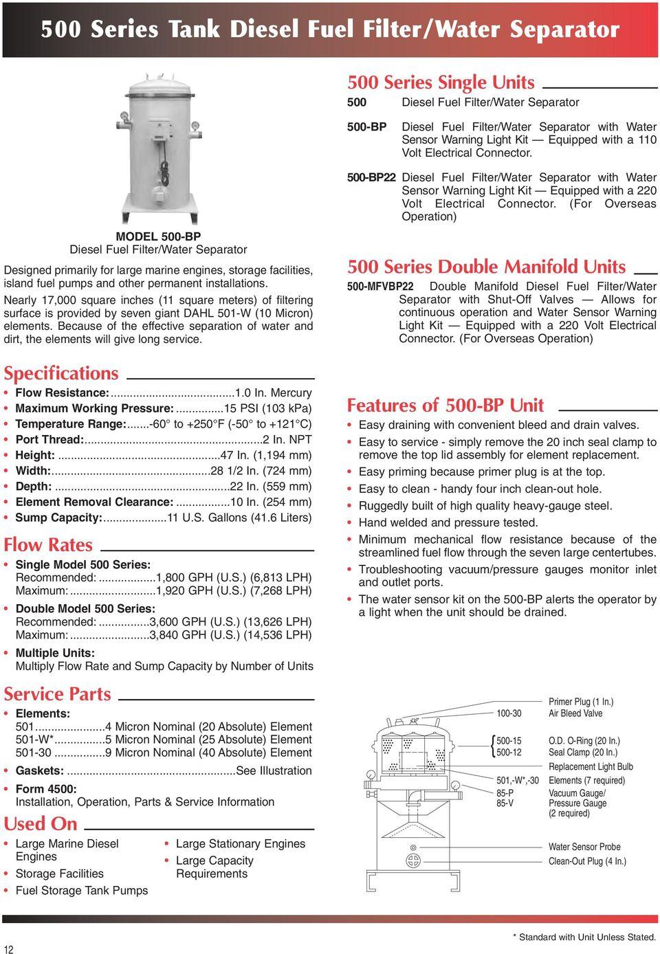 medium resolution of model 500 bp diesel fuel filter water separator designed primarily for large marine engines