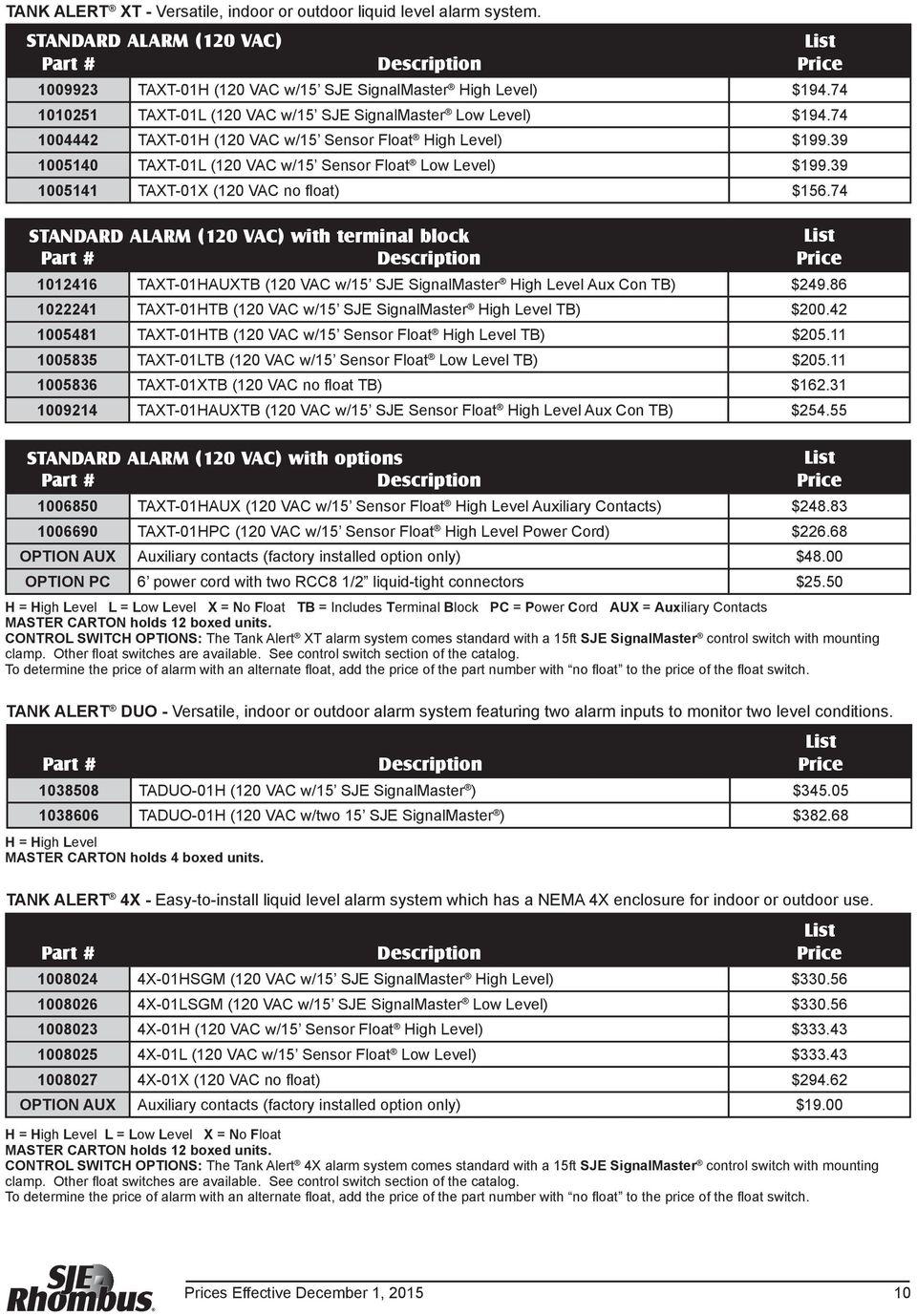 medium resolution of 39 1005141 taxt 01x 120 vac no float 156 74 standard alarm 120