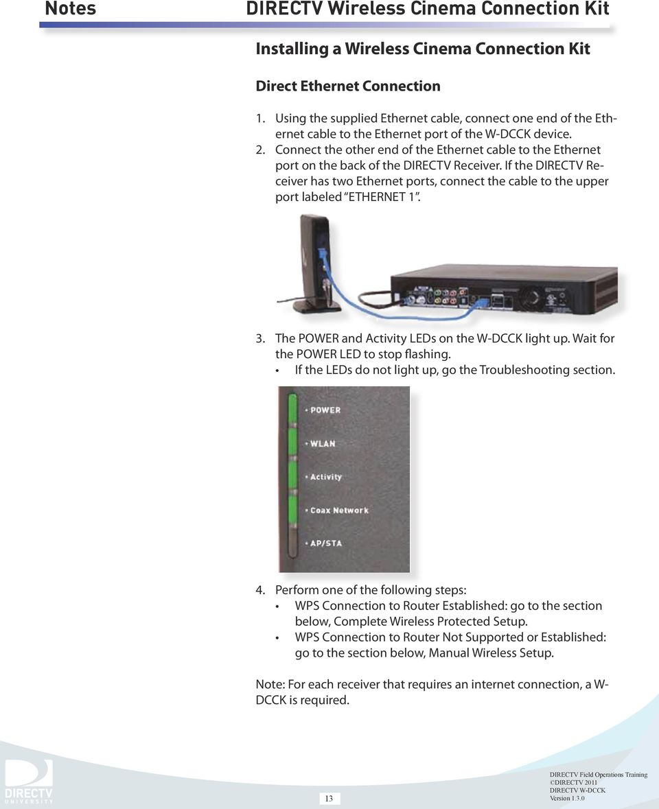 medium resolution of if the directv receiver has two ethernet ports connect the cable to the upper port 14 installing a wireless