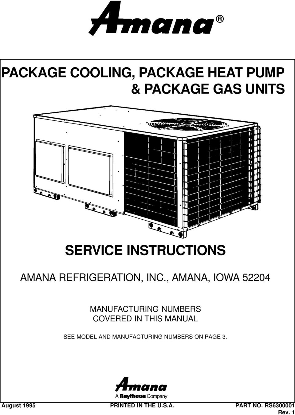 medium resolution of amana iowa 52204 manufacturing numbers covered in this manual 2 index product identification specifications accessories package cooling