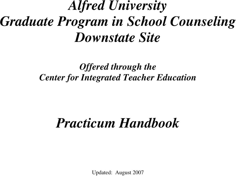 Alfred University Graduate Program in School Counseling