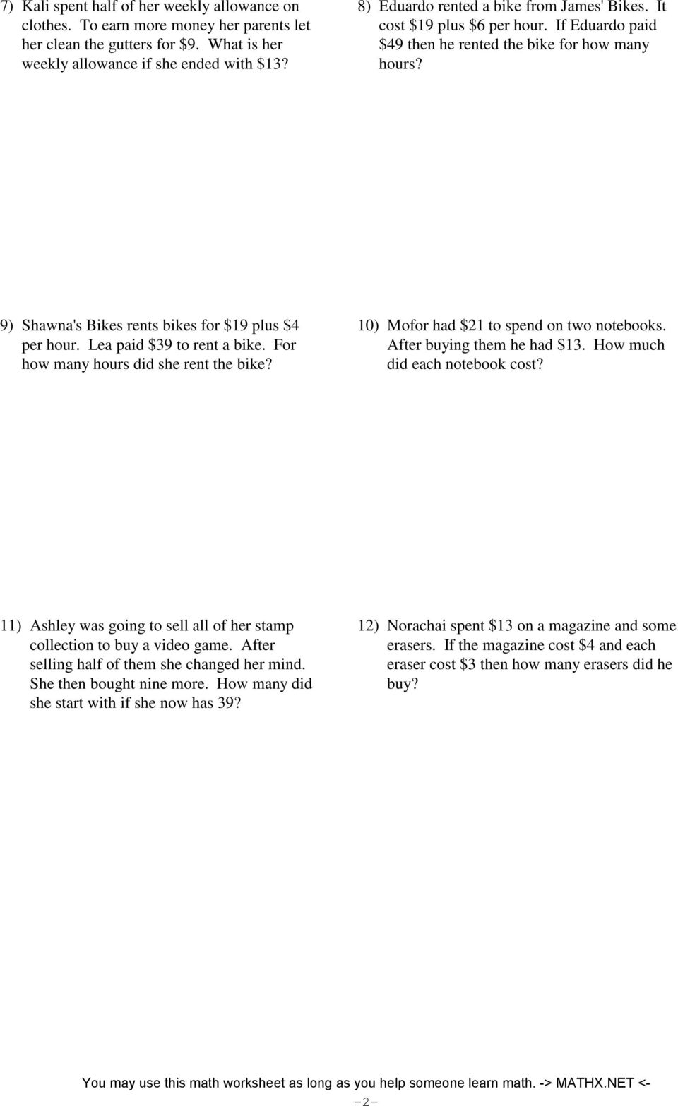 medium resolution of Mathx Net Two Step Equations Word Problems Integers Answer Key -  Tessshebaylo