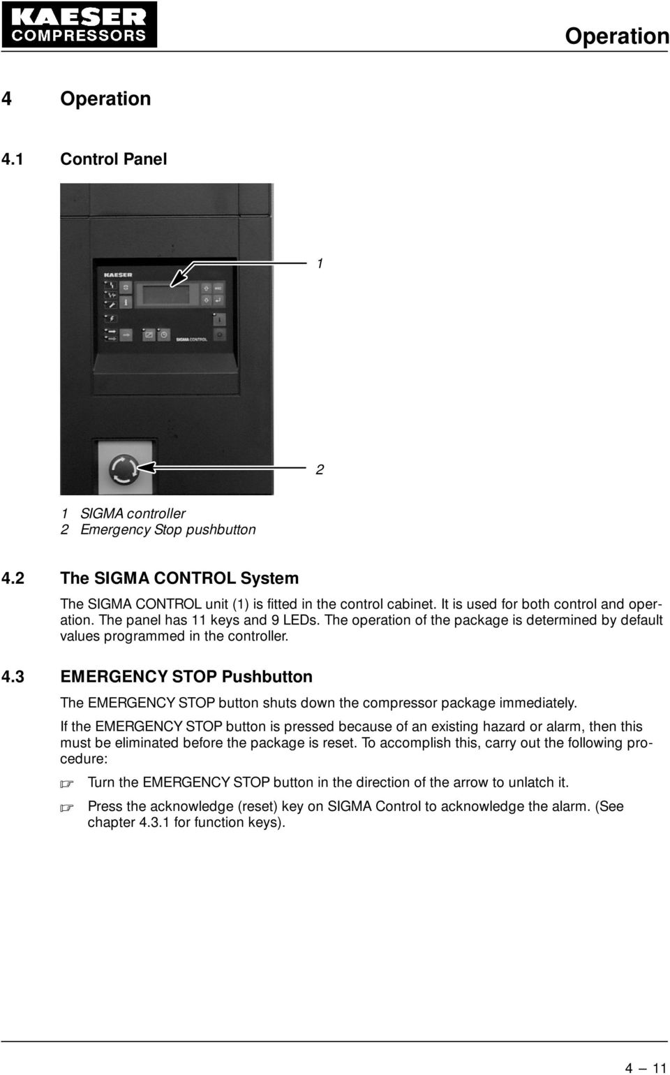 medium resolution of 3 emergency stop pushbutton the emergency stop button shuts down the compressor package immediately