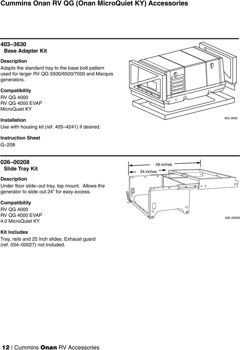 medium resolution of 403 3630 instruction sheet g 208 026 00208 slide tray kit under floor slide out tray