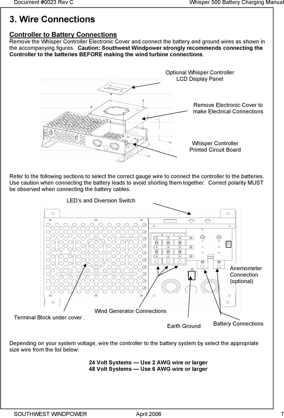medium resolution of caution southwest windpower strongly recommends connecting the controller to the batteries before making the wind 10 controller to wind generator wiring