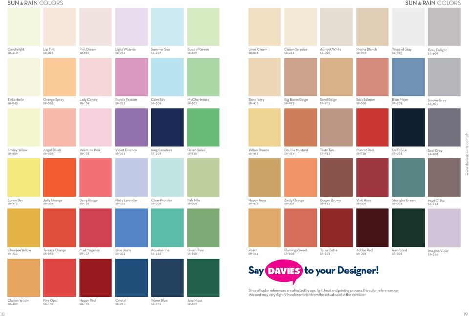 Davies Sun And Rain Color Chart 12 Tips For Painting The