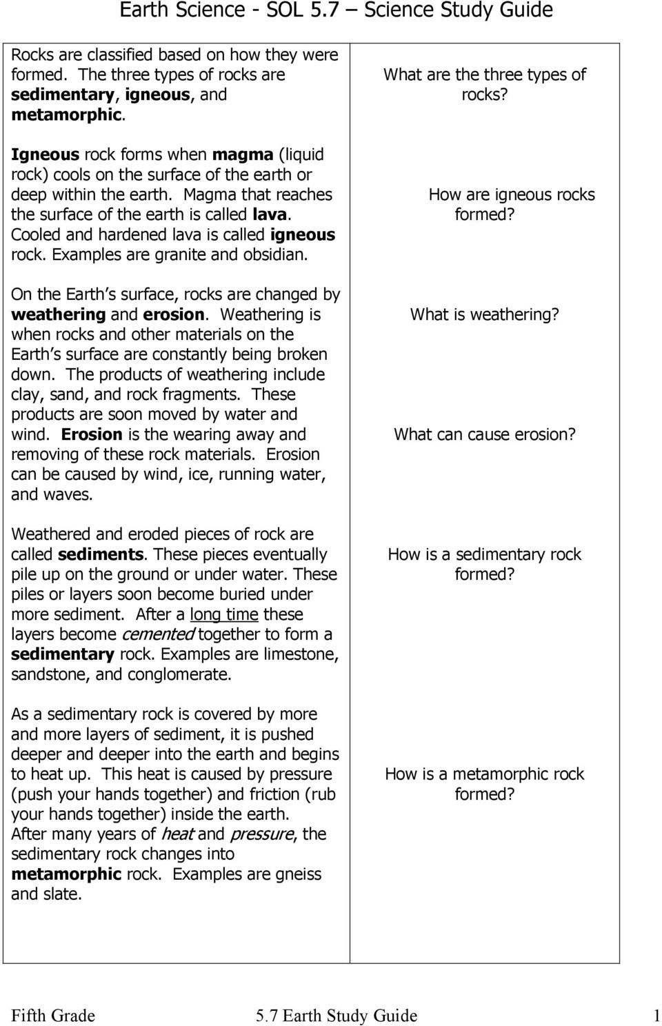 hight resolution of Earth Science - SOL 5.7 Science Study Guide - PDF Free Download