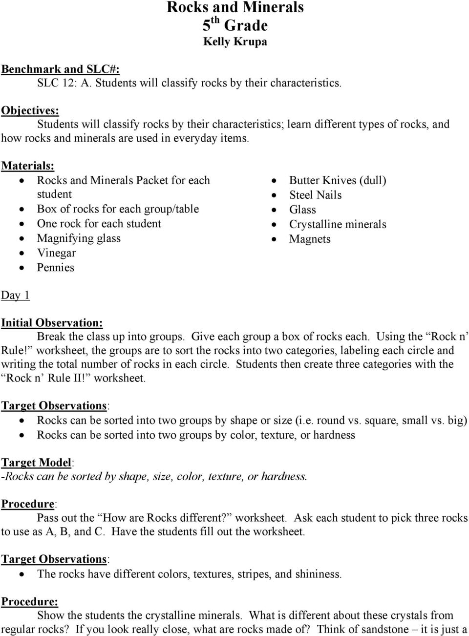 hight resolution of Rocks and Minerals 5 th Grade Kelly Krupa - PDF Free Download