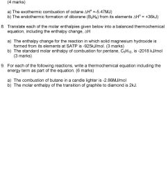 translate each of the molar enthalpies given below into a balanced thermochemical equation including the [ 960 x 1454 Pixel ]