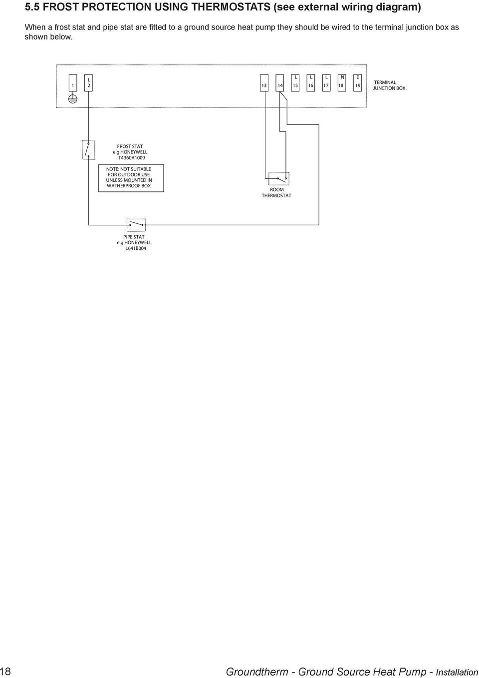 medium resolution of  ground source heat pump installation n e 1 2 13 14 15 16 17 18 19 termina junction box frost stat e