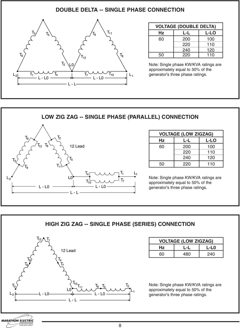 hight resolution of low zig zag single phase parallel connection t 3 t 6 t