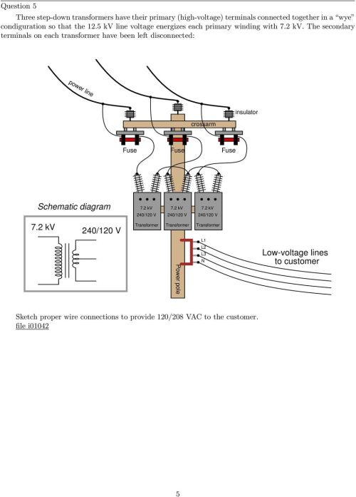small resolution of the secondary terminals on each transformer have been left disconnected power line crossarm insulator schematic