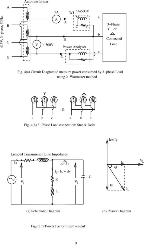 small resolution of 4 a circuit diagram to measure power consumed by 3 phase load using wattmeter