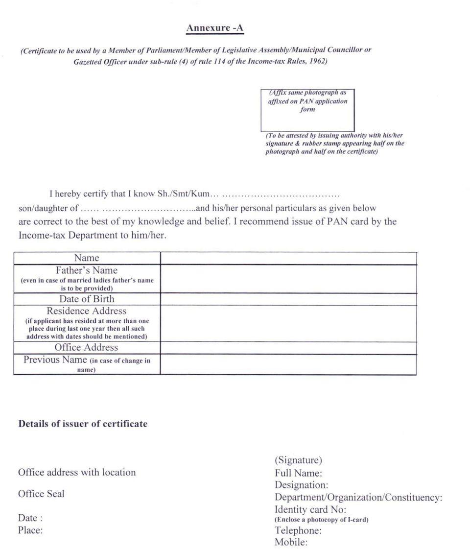 Pan Application Form Pdf