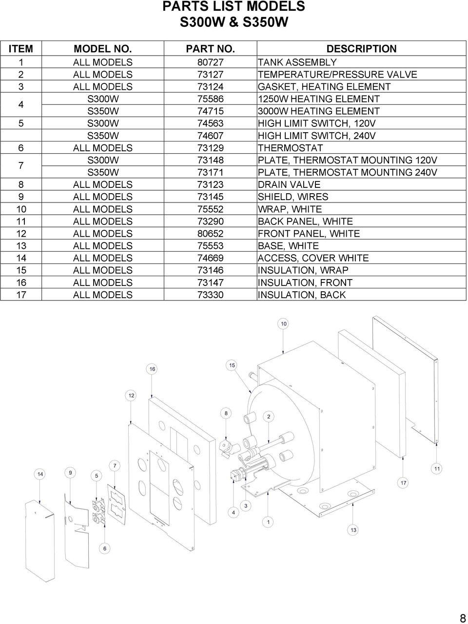medium resolution of element 5 s300w 74563 high limit switch 120v s350w 74607 high limit switch 240v