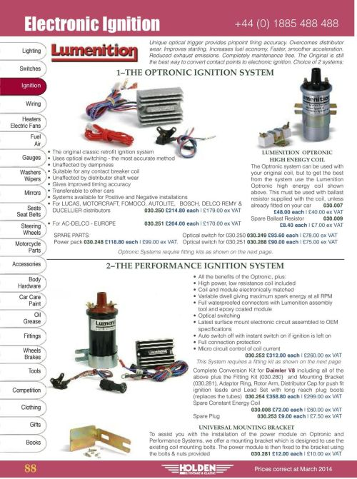small resolution of choice of 2 systems 1 the optronic ignition system 88 the original classic retrofit ignition