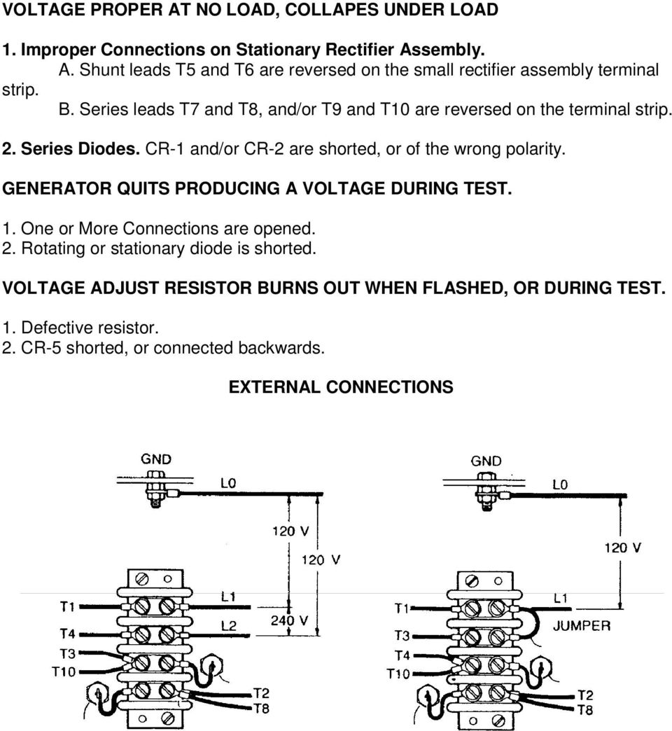 medium resolution of generator quits producing a voltage during test 1 one or more connections are opened