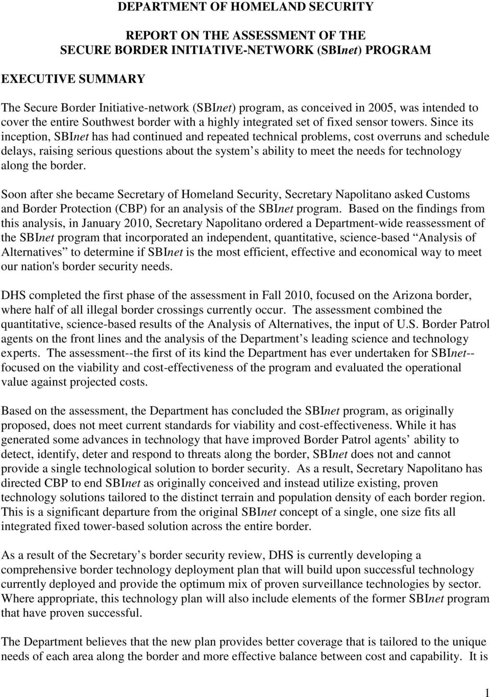 Cbp Marine Interdiction Agent Cover Letter Department Of Homeland Security Report On The Assessment Of The