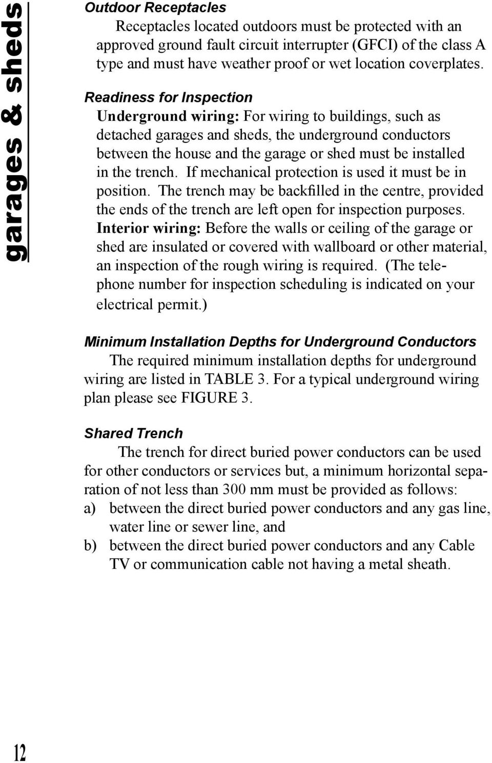 hight resolution of readiness for inspection underground wiring for wiring to buildings such as detached garages and