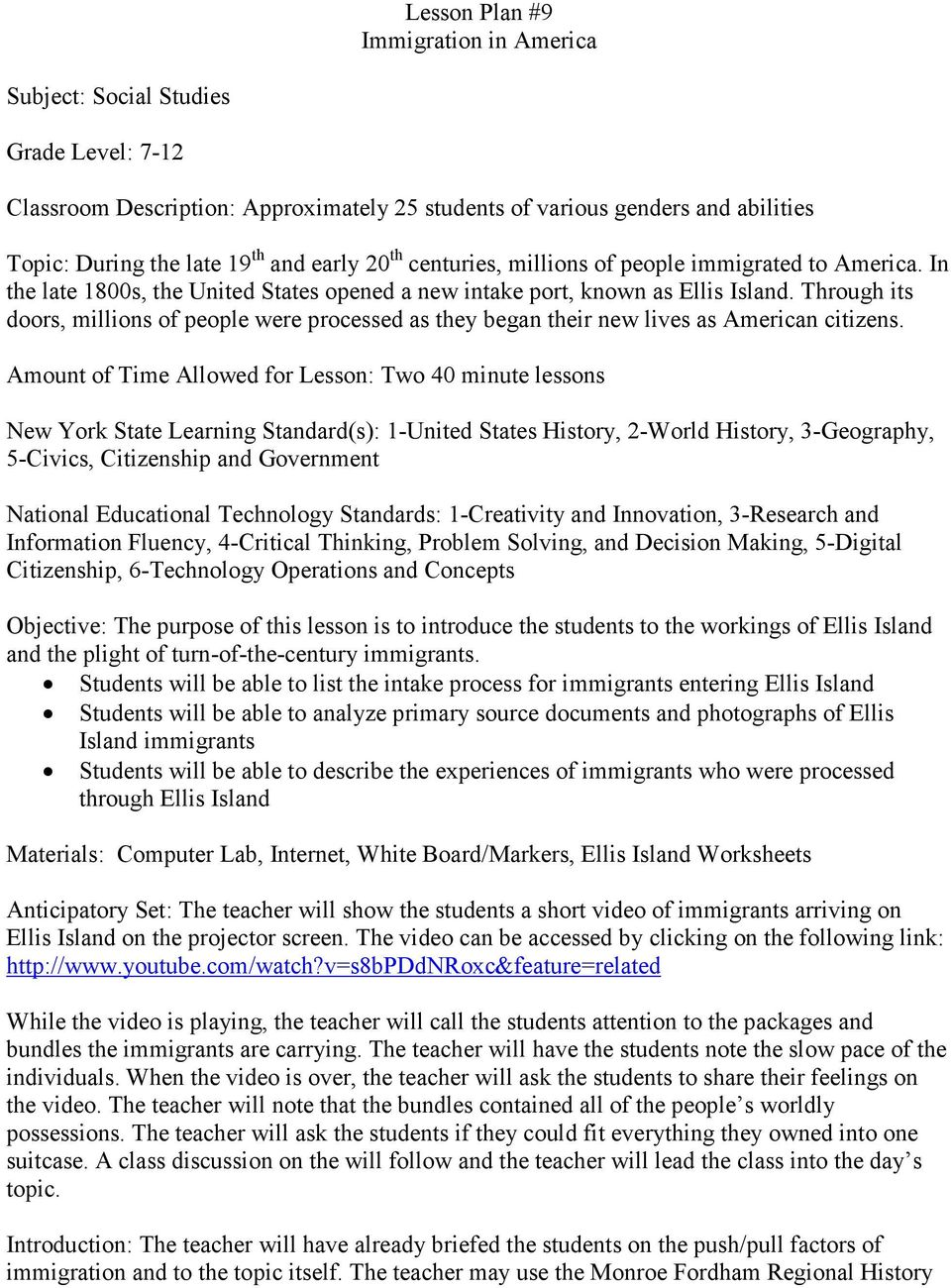hight resolution of Lesson Plan #9 Immigration in America. Classroom Description: Approximately  25 students of various genders and abilities - PDF Free Download