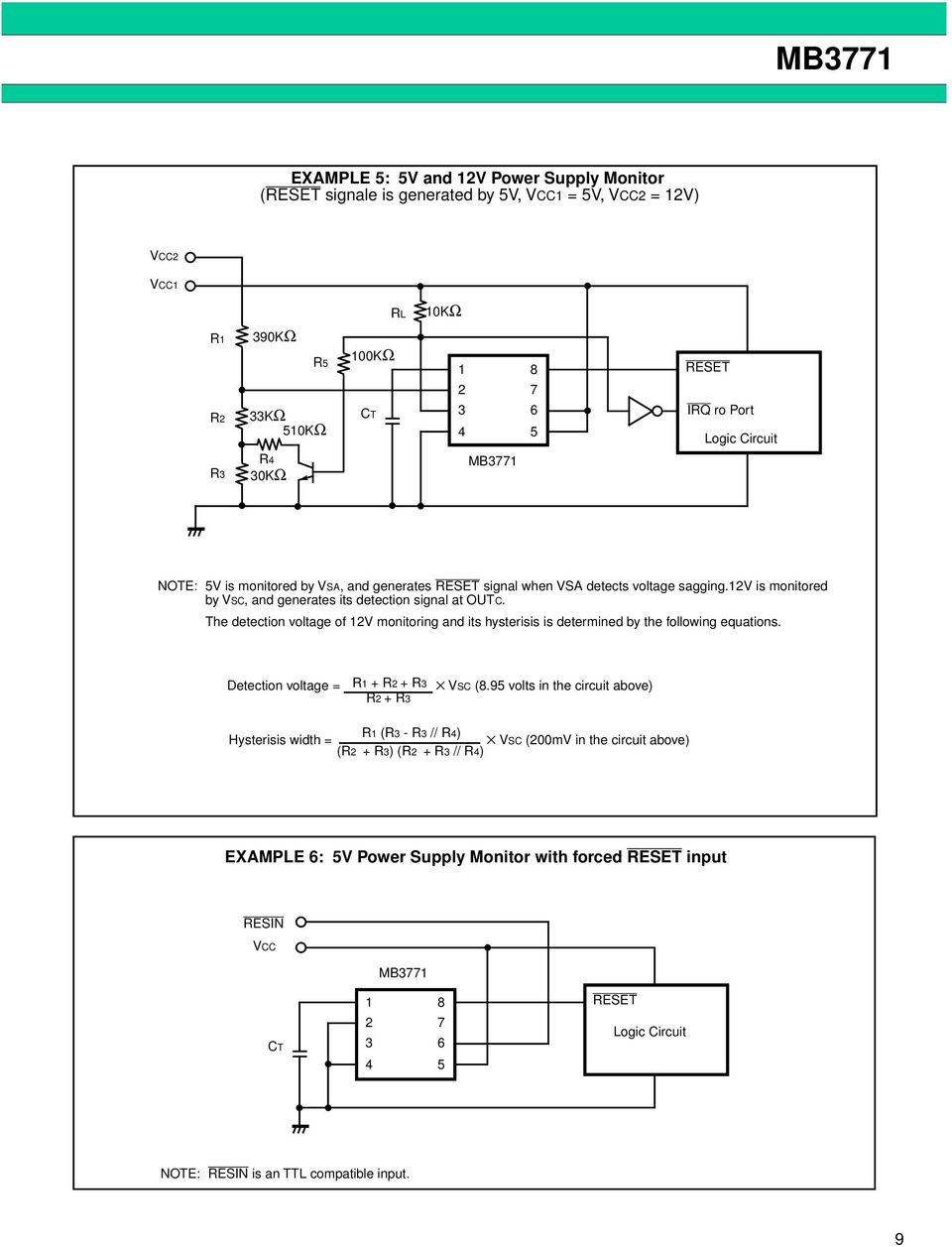 hight resolution of the detection voltage of v monitoring and its hysterisis is determined by the following equations