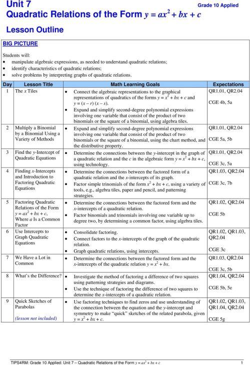 small resolution of Unit 7 Quadratic Relations of the Form y \u003d ax 2 + bx + c - PDF Free Download