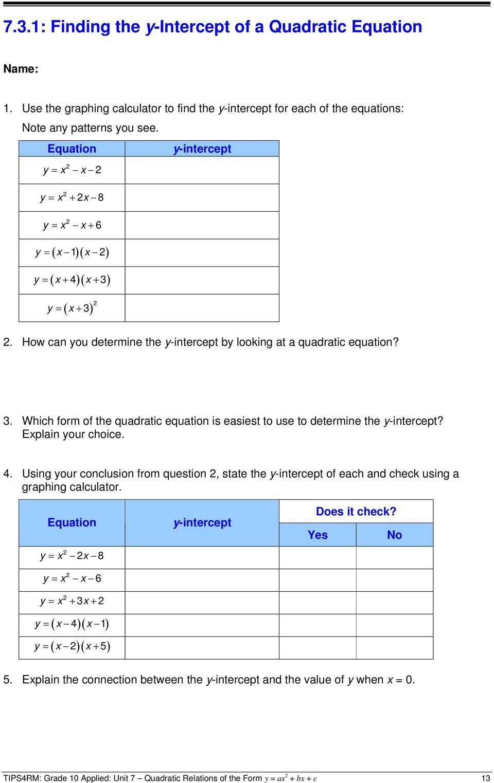 medium resolution of Unit 7 Quadratic Relations of the Form y \u003d ax 2 + bx + c - PDF Free Download