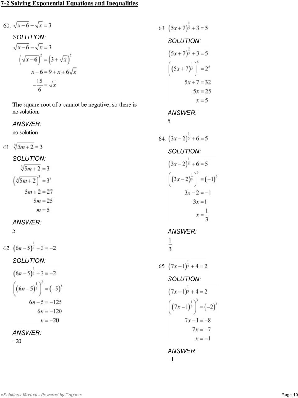 7-2 Solving Exponential Equations and Inequalities. Solve