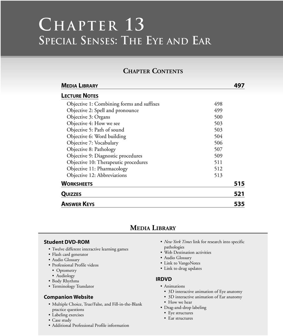 hight resolution of  labeling eye structures ear structures therapeutic procedures 511 objective 11 pharmacology 512 objective 12 abbreviations 513 worksheets 515 quizzes