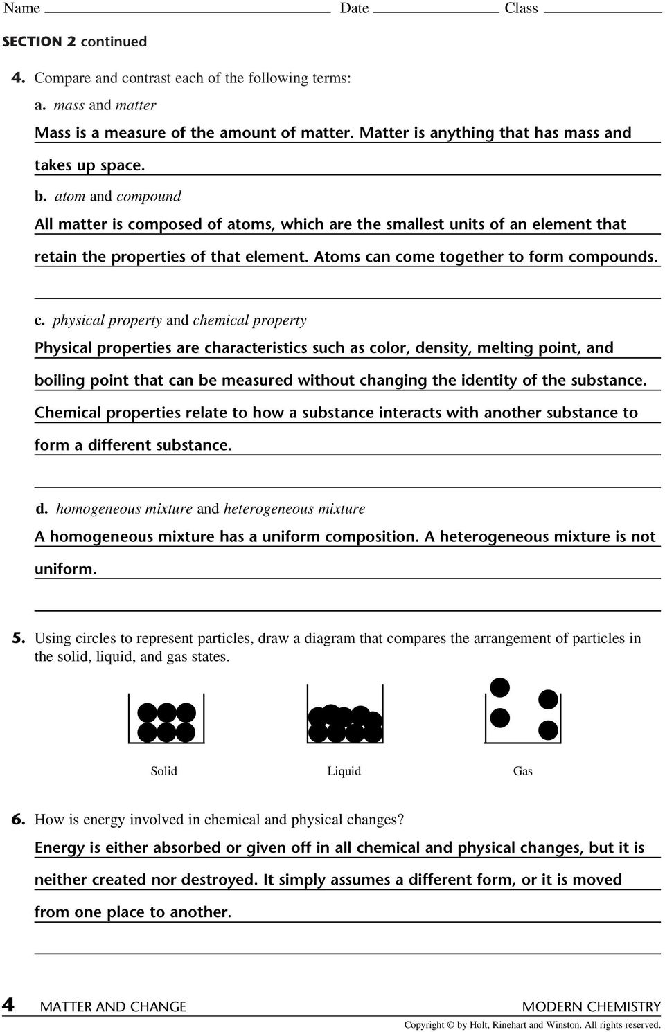 medium resolution of Matter Properties And Changes Worksheet - Worksheet List