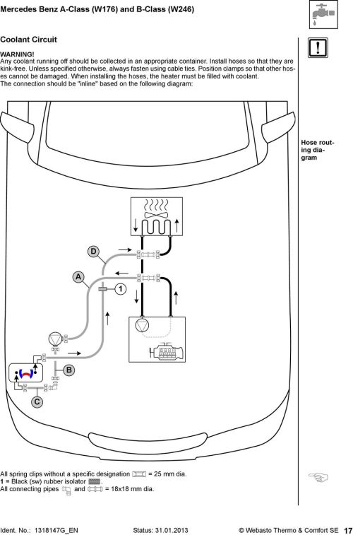 small resolution of when installing the hoses the heater must be filled with coolant 18 mercedes benz
