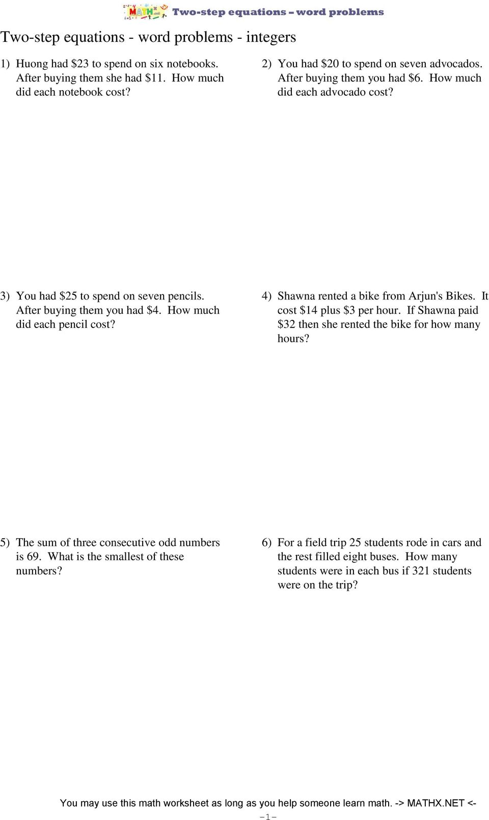 hight resolution of Mathx Net Two Step Equations Word Problems Integers Answer Key -  Tessshebaylo