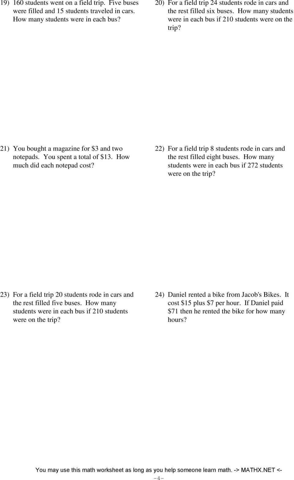 medium resolution of Two-step equations - word problems - integers - PDF Free Download