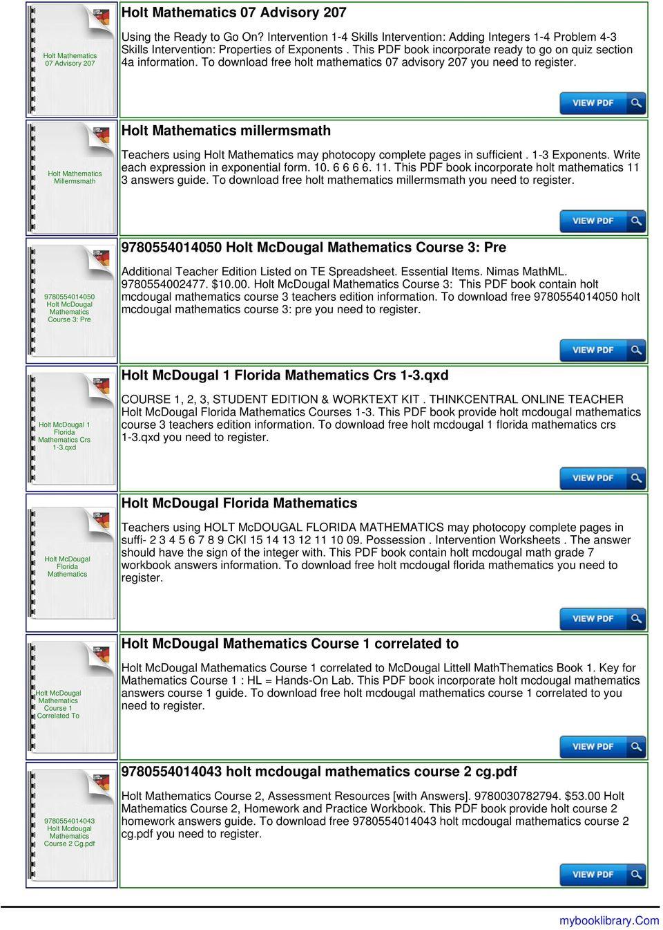 medium resolution of Holt Mathematics Grade 6 Answer Key - PDF Free Download