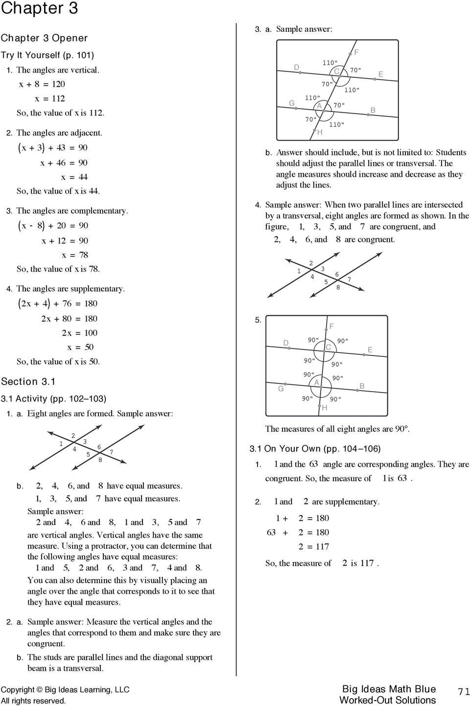 hight resolution of Big Ideas Math Blue Assessment Book Answer Key - Laskoom