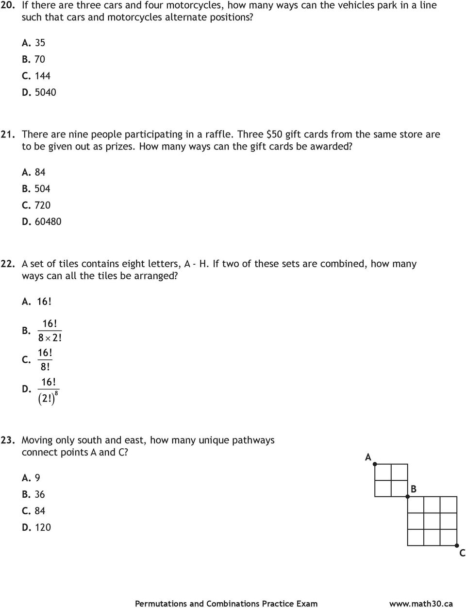 medium resolution of Math 30-1: Permutations and Combinations PRACTICE EXAM - PDF Free Download