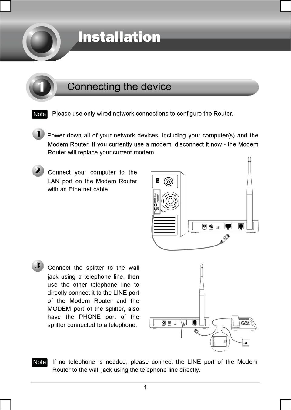 Replace Phone Line With Ethernet : replace, phone, ethernet, Telephone, Needed,, Please, Connect, Modem, Router, Using, Directly., Download