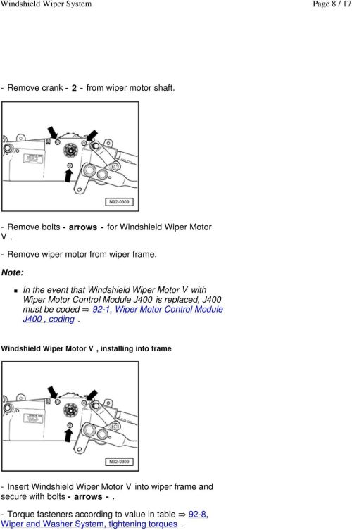 small resolution of in the event that windshield wiper motor v with wiper motor control module j400 is replaced