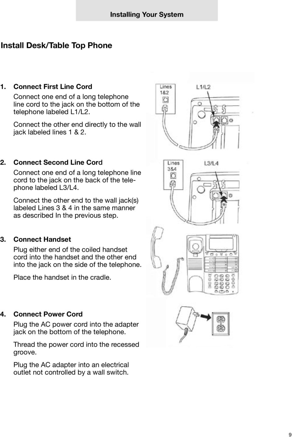 medium resolution of connect the other end to the wall jack s labeled lines 3 4 10 installing your system assigning station