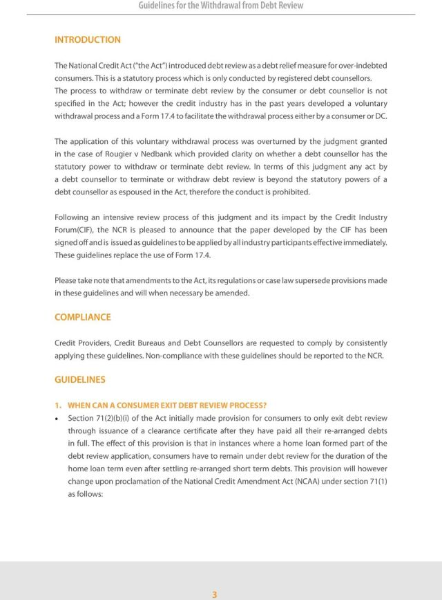 Guidelines for the Withdrawal from Debt Review GUIDELINES FOR THE